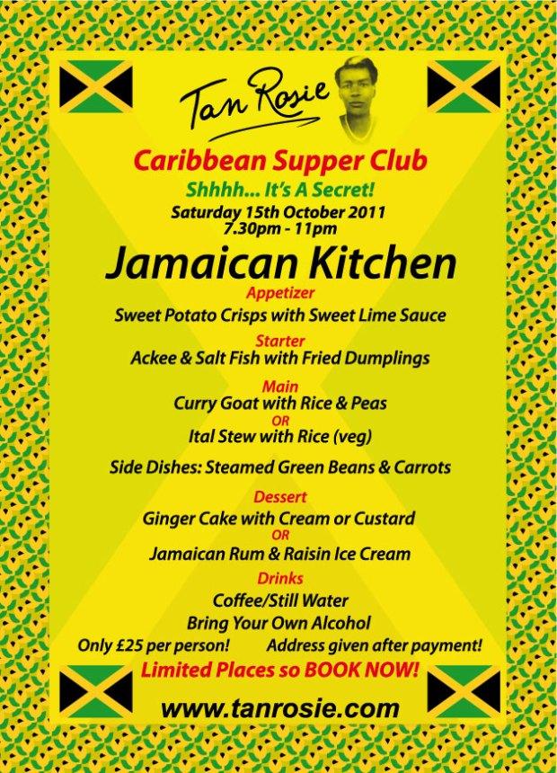 Jamaican supper club menu saturday 15th october 2011 tan for W kitchen verbier menu